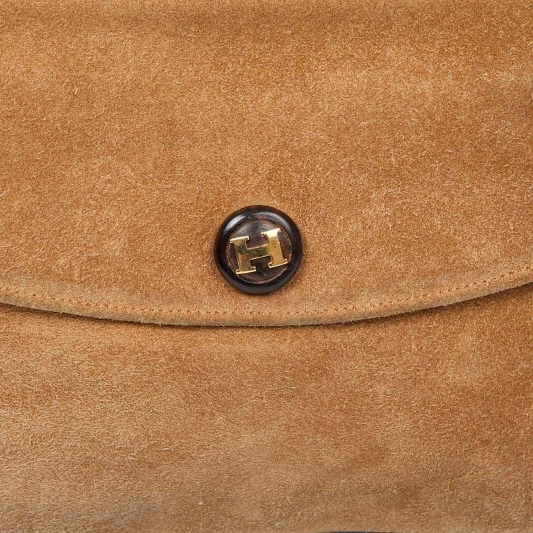 HERMES Vintage Clutch in Camel Suede For Sale 3