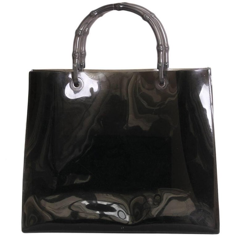 Collector GUCCI Smoked-Colored Plastic Tote Bag with Bamboo Handle