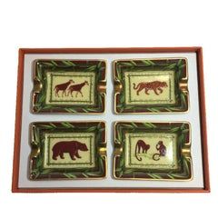HERMES Set of 4 Mini Ashtrays in White Porcelain with Animal Pattern