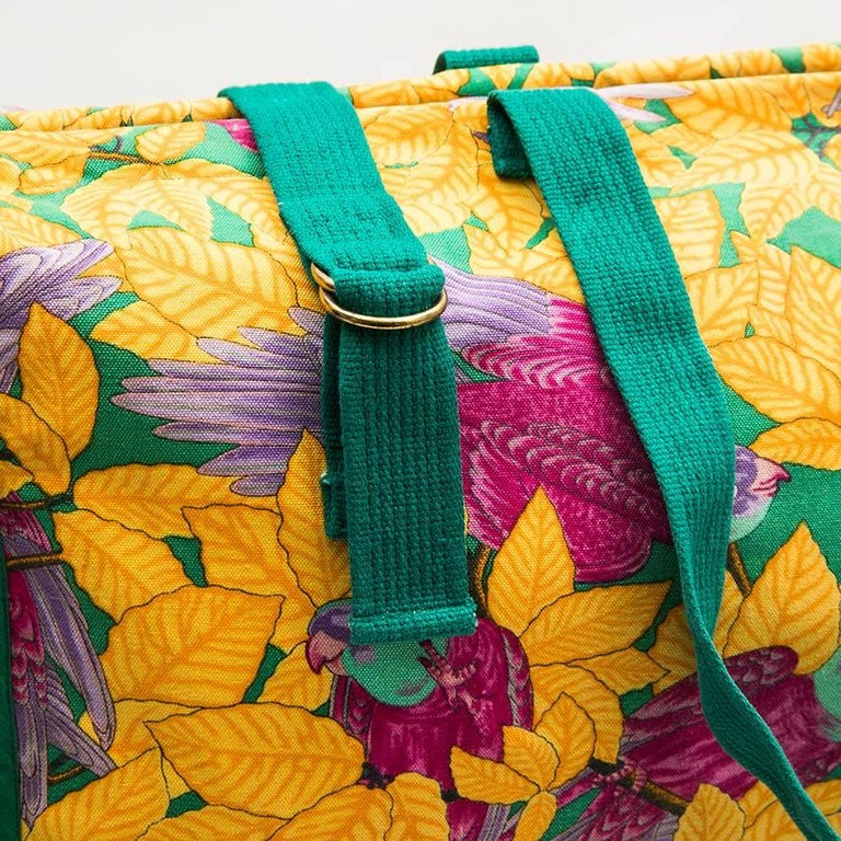HERMES Beach Bag in Multicolored Flower Printed Cotton For Sale 1
