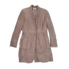 BRUNELLO CUCINELLI Long Coat in Beige Suede Size 40EU