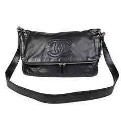 CHANEL Black Quilted Soft Leather Messenger Flap Bag