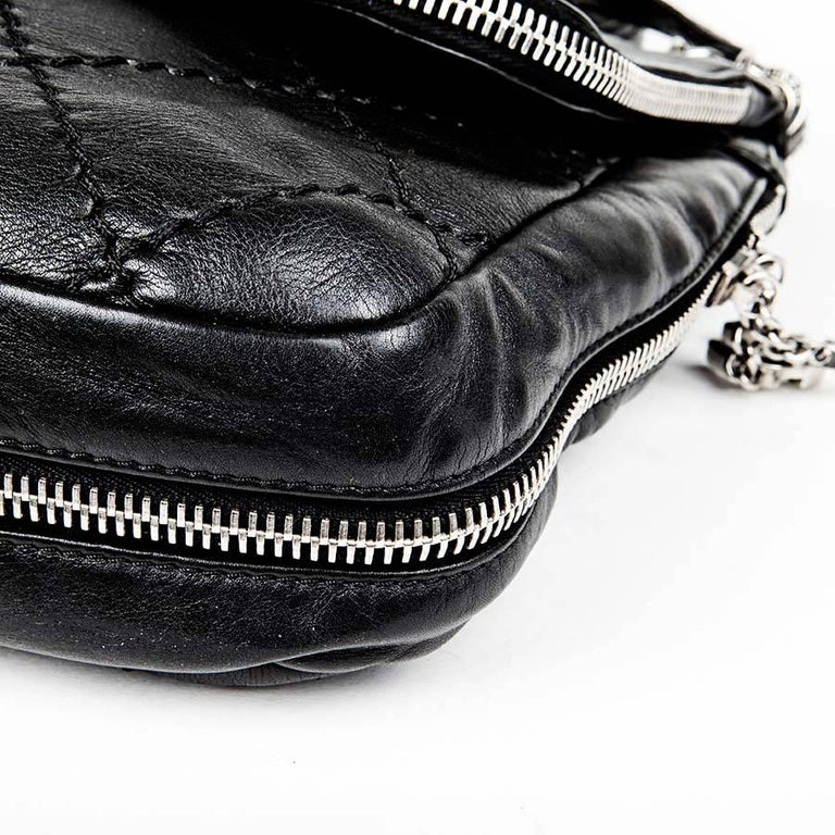 db5f700c66bf87 Women's or Men's CHANEL Black Quilted Soft Leather Messenger Flap Bag For  Sale