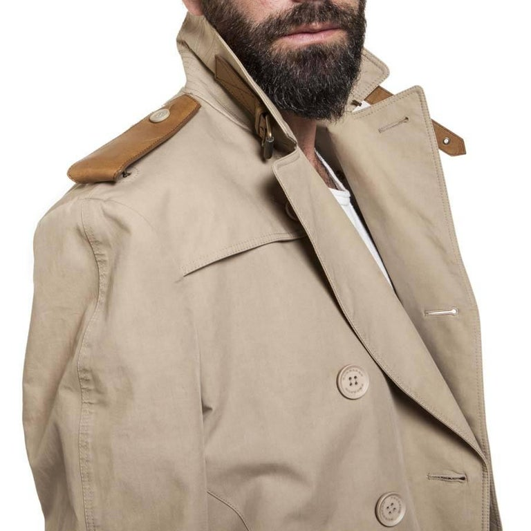 BURBERRY Riding Trench Coat in Beige Cotton and Natural Leather Size 48FR For Sale 3