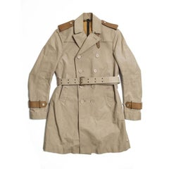 BURBERRY Riding Trench Coat in Beige Cotton and Natural Leather Size 48FR