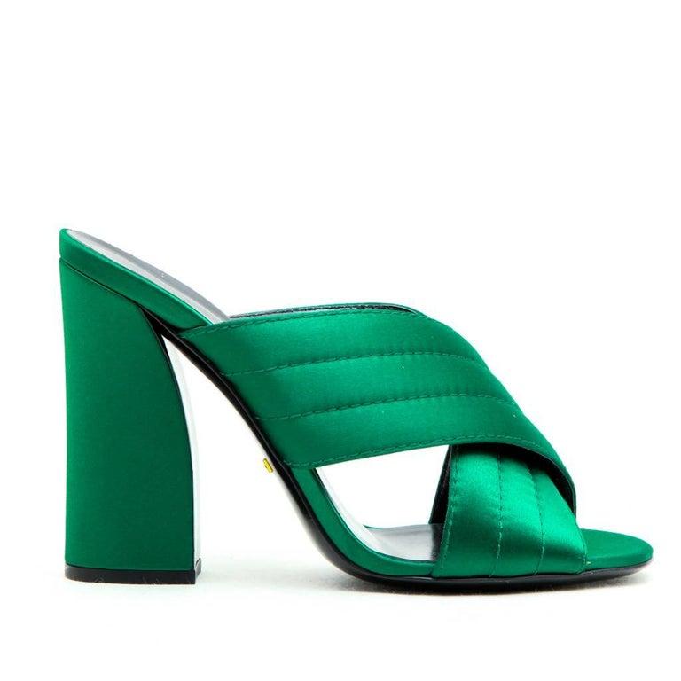232b1c1fe38084 GUCCI High Heels Sandals in Green Satin Size 39.5EU at 1stdibs