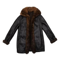 Balenciaga Mid-Length Coat in Brown Returned Lambskin and Aged Leather Size 40