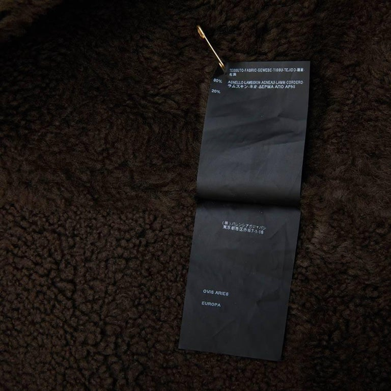 Balenciaga Mid-Length Coat in Brown Returned Lambskin and Aged Leather Size 40 For Sale 5