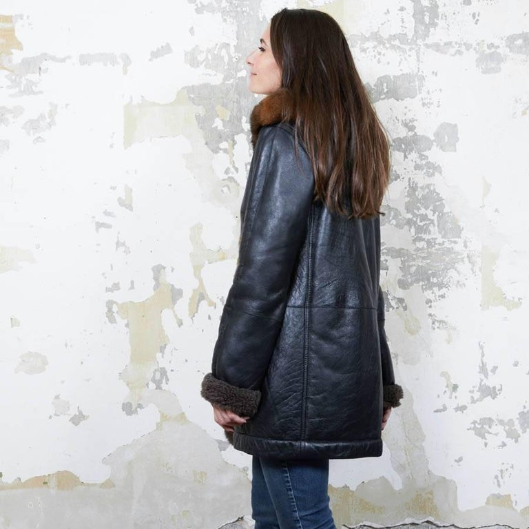 Women's Balenciaga Mid-Length Coat in Brown Returned Lambskin and Aged Leather Size 40 For Sale