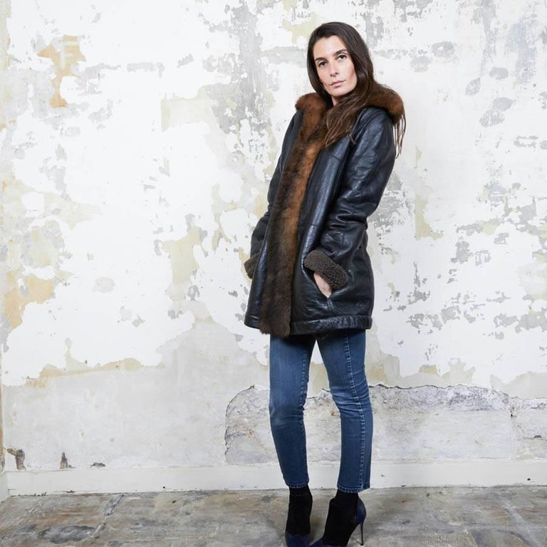 Black Balenciaga Mid-Length Coat in Brown Returned Lambskin and Aged Leather Size 40 For Sale