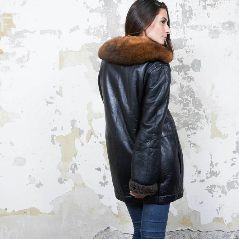 Balenciaga Mid-Length Coat in Brown Returned Lambskin and Aged Leather Size 40 For Sale 1