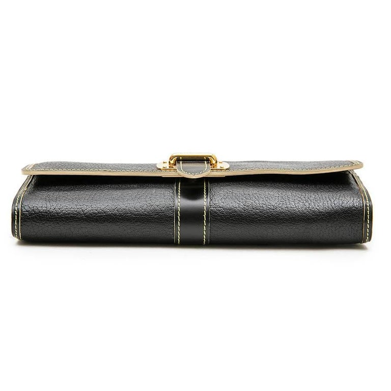 Women's LOUIS VUITTON Clutch in Black Grained Leather with Saddle Stitching For Sale