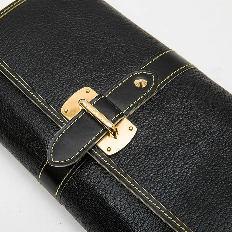 LOUIS VUITTON Clutch in Black Grained Leather with Saddle Stitching For Sale 2