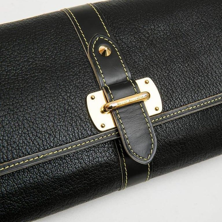 LOUIS VUITTON Clutch in Black Grained Leather with Saddle Stitching For Sale 1
