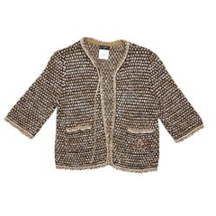 Chanel Vest in Gold, Navy and Ecru Knit Size 36FR