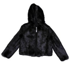 CHLOE Hooded Jacket in Black Beaver Shiny fur Size 38