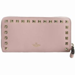 VALENTINO 'Rockstud' Wallet in Pink Leather and Gilded Metal Studs