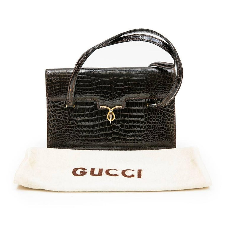 Women's Gucci Vintage Bag in Brown Crocodile Porosus Leather For Sale