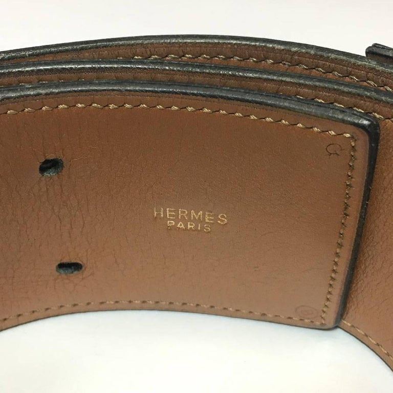 HERMES Vintage Belt in Navy Leather  In Fair Condition For Sale In Paris, FR