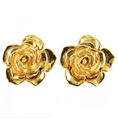 YSL YVES SAINT LAURENT Vintage Clip-on Earrings in Gilded Brass Metal