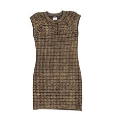CHANEL 'Paris-Shangai' Dress in Gold, Black and Beige Cashmere and Wool 36FR