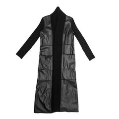 PACO RABANNE Long Coat in Black Wool and Leather Size 38FR
