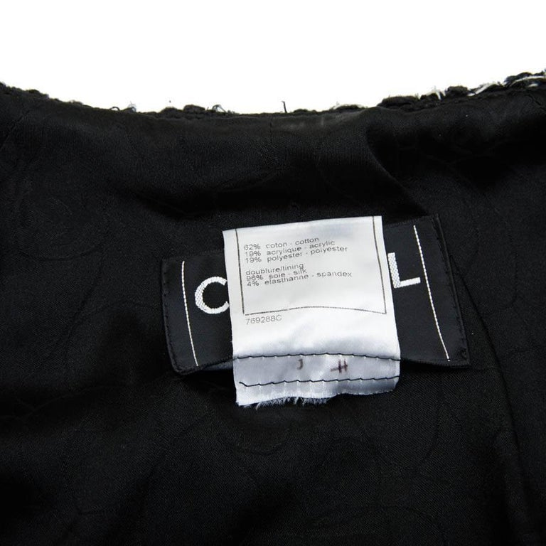 CHANEL Iconic Long Jacket in Black Tweed Size 34FR For Sale 6