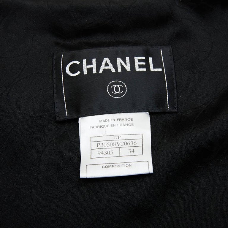 CHANEL Iconic Long Jacket in Black Tweed Size 34FR For Sale 5