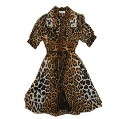 YVES SAINT LAURENT Dress in Leopard Printed Silk Size 36FR