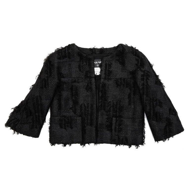 CHANEL Short Black Jacket Size 38FR