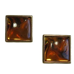 YVES SAINT LAURENT Clip-on Earrings in Gilded Metal and Amber Fantasy Stone