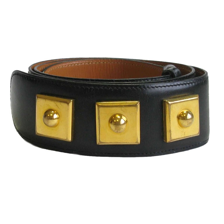 HERMES Belt 'Piano' Model in Black Box Leather