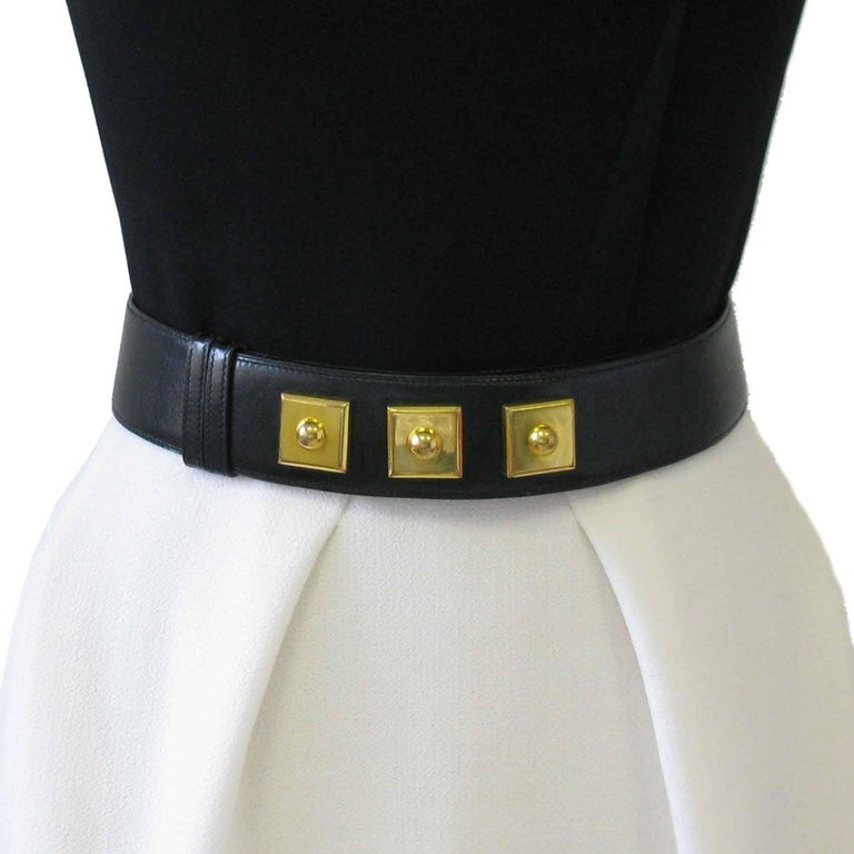 HERMES Belt 'Piano' Model in Black Box Leather In Good Condition For Sale In Paris, FR