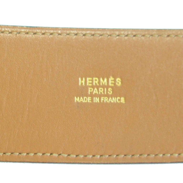 HERMES Belt 'Piano' Model in Black Box Leather For Sale 5