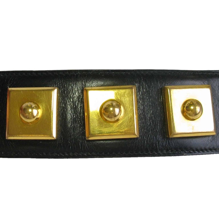 HERMES Belt 'Piano' Model in Black Box Leather For Sale 2
