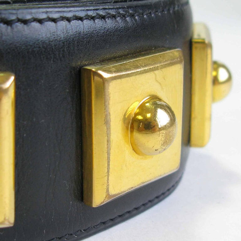 HERMES Belt 'Piano' Model in Black Box Leather For Sale 1