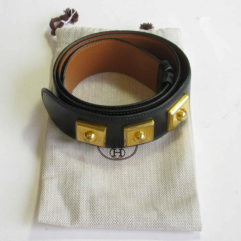 HERMES Belt 'Piano' Model in Black Box Leather For Sale 6