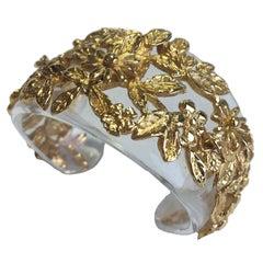 GOOSSENS Cuff Bracelet in Transparent Plexiglass and gilded Metal