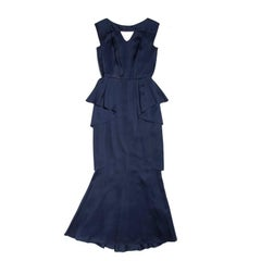 CHANEL Evening Dress in Blue Silk with Ruffles Size 38FR
