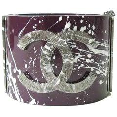 Chanel Purple Resin Graffiti Cuff Bracelet