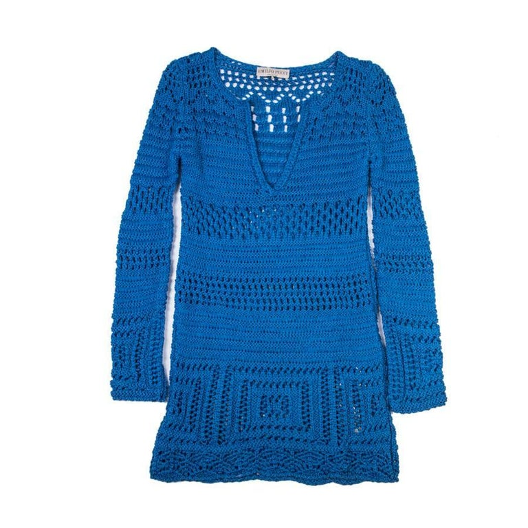 EMILIO PUCCI Tunic By Peter Dundas in Mediterranean Blue Cotton Crochet Size S