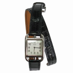 Hermès Stainless Steel Cape Cod black Mississippi alligator Quartz Wristwatch