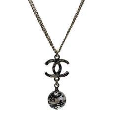 Chanel Gilt Metal CC Pendant and Graffiti Pearl Necklace