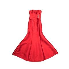 KAREN MILLEN Red Satin Long Evening Gown Size 34FR