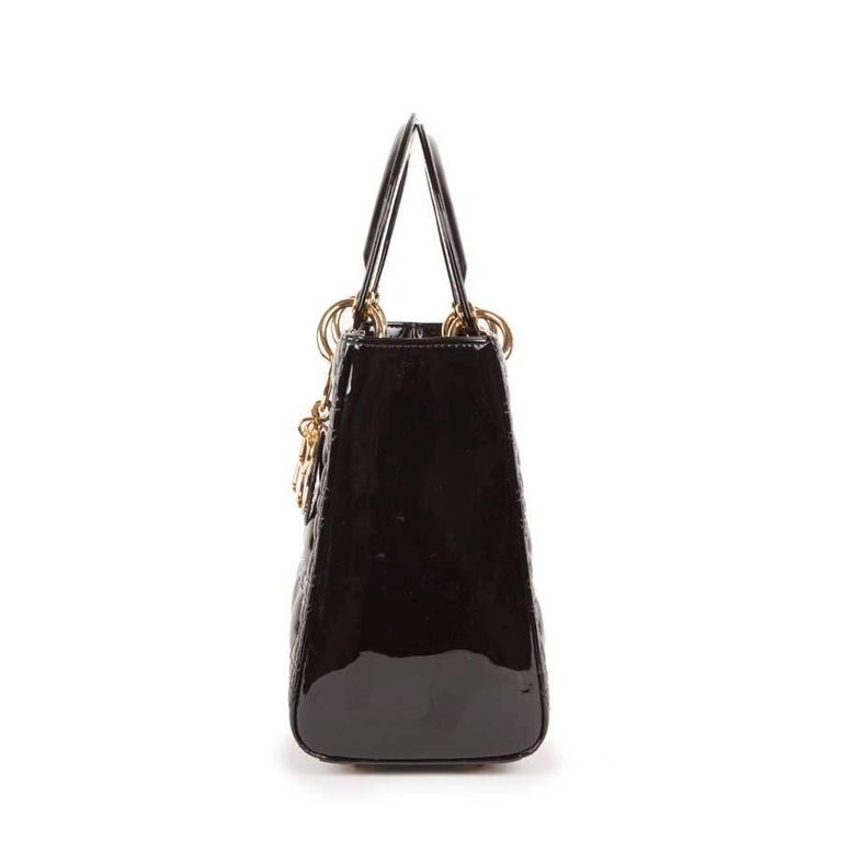 Christian Dior Black Quilted Patent Leather Lady Dior Bag  For Sale 1