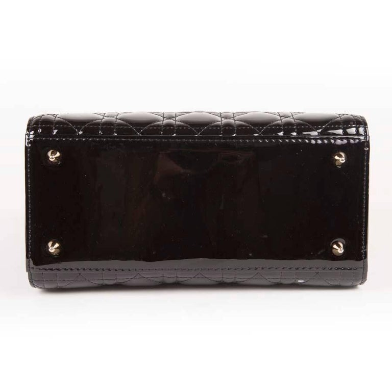 Christian Dior Black Quilted Patent Leather Lady Dior Bag  For Sale 2