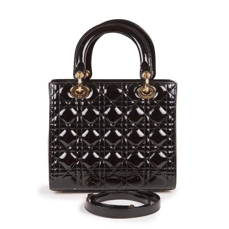 Christian Dior Black Quilted Patent Leather Lady Dior Bag  In Excellent Condition For Sale In Paris, FR