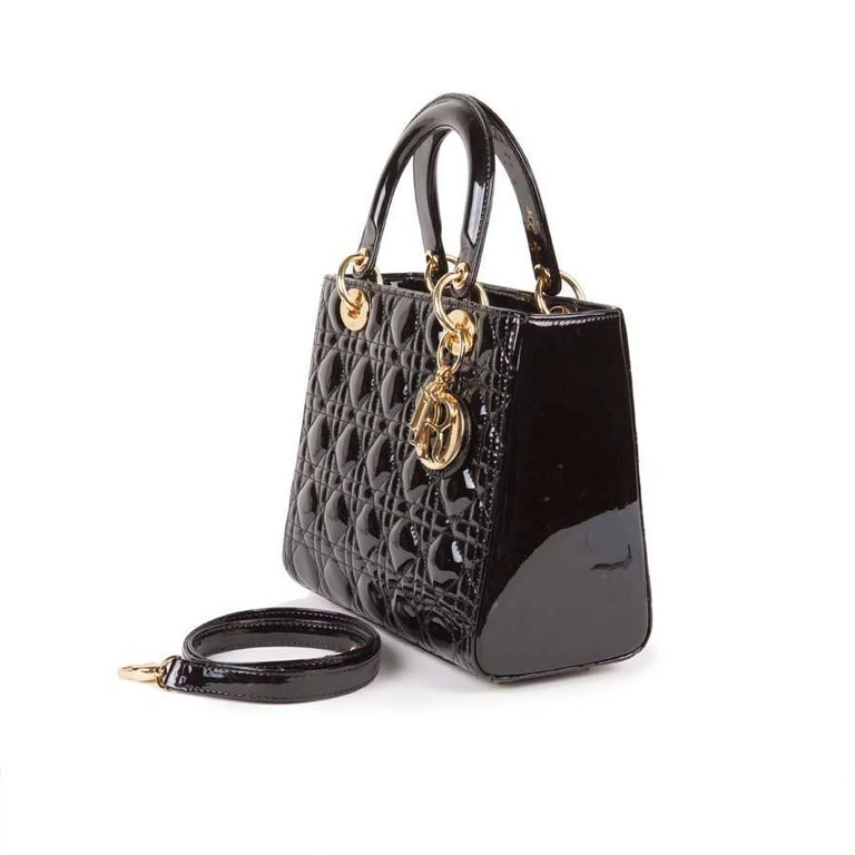 Women's Christian Dior Black Quilted Patent Leather Lady Dior Bag  For Sale