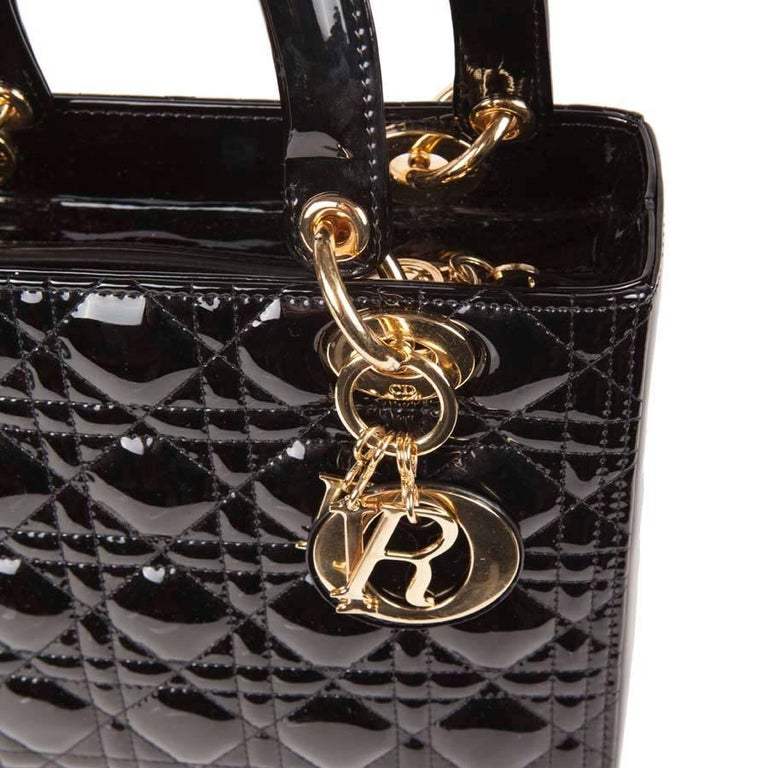 Christian Dior Black Quilted Patent Leather Lady Dior Bag  For Sale 3