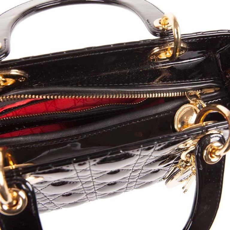 Christian Dior Black Quilted Patent Leather Lady Dior Bag  For Sale 4